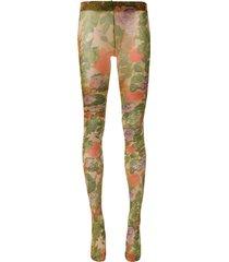 richard quinn floral-print sheer tights - green