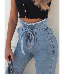 con cinturón diseño denim de cintura alta jeans