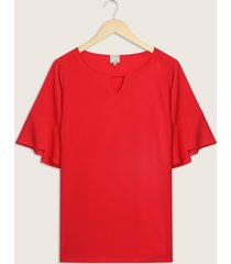 blusa unicolor de manga corta de bolero-14