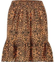 rok met bladeren print luus  oranje