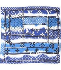 louis vuitton escale confidential scarf blue multicolor silk blue/multicolor sz: