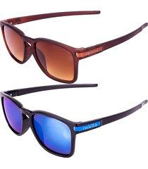kit de 2 óculos de sol conbelive marrom e preto espelhado