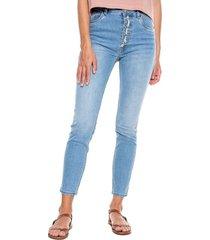 high waist skinny jeans tono claro con botonadura externa color blue