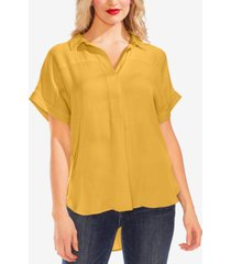 vince camuto collared henley rumple blouse