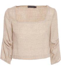 blusa feminina decote square alivavó - bege