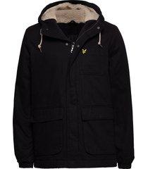 wadded jacket parka jas zwart lyle & scott