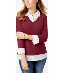 karen scott cotton layered-look woven top, created for macy's