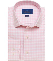 men's big & tall david donahue trim fit gingham stretch cotton & linen dress shirt, size 18.5 - pink