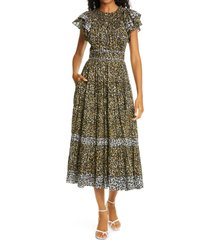 women's ulla johnson iona cheetah print midi dress