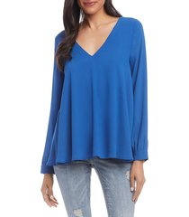 karen kane women's cross-back top - blue - size m