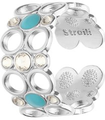 anello regolabile in ottone rodiato con cristalli e smalto azzurro per donna