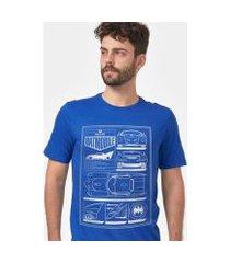 camiseta masculina batman moldura batmóvel blueprint
