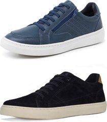kit 2 sapatenis sandalo soft azul e basic preto