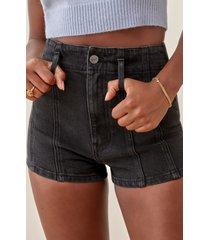 women's reformation eva high waist cheeky shorts, size 28 - black