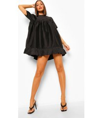 taffeta babydoll jurk met franjes, black