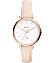 fossil jacqueline three-hand date pastel pink leather watch 36mm