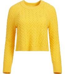 alice+olivia leta textured pullover - yellow
