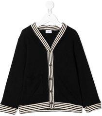 violeta e federico striped-edge v-neck cardigan - black