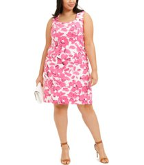 kasper plus size brushstroke floral crepe dress
