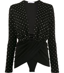 amen crystal-embellished wrap-effect top - black