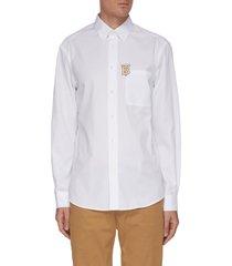 'caddington' logo embroidered patch pocket shirt