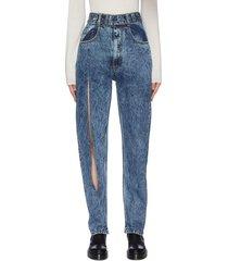 belted slash detail stone wash denim jeans