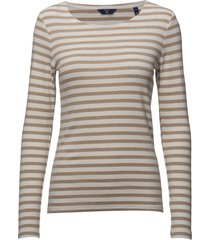 1x1 rib ls t-shirt t-shirts & tops long-sleeved beige gant