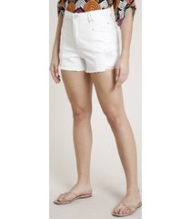short de sarja feminino triya cintura super alta com rasgos off white