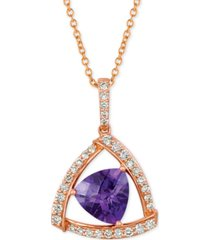 "le vian amethyst (1-5/8 ct. t.w.) & diamond (1/3 ct. t.w.) 18"" pendant necklace in 14k rose gold"