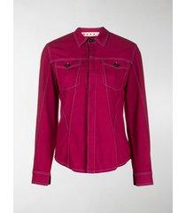 marni contrast-stitch flap-pocket shirt