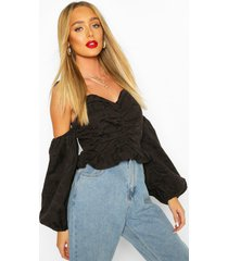 jacquard cold shoulder puff sleeve top, black