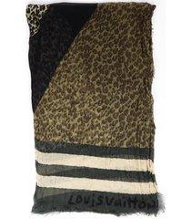 louis vuitton stephen sprouse multicolor animal print cashmere silk scarf green/multicolor sz: