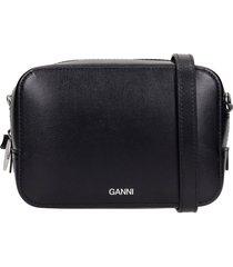 ganni shoulder bag in black leather