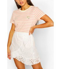 daisy stripe ringer t-shirt, coral