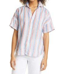 women's frank & eileen rose linen button-up shirt, size x-large - none