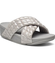 lulu padded shimmy suede slides shoes summer shoes flat sandals grå fitflop