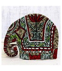 chain stitched wool tea cozy, 'marching elephant in red' (india)