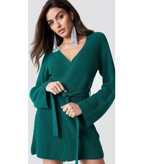 hannalicious x na-kd wrapped knitted cardigan - green