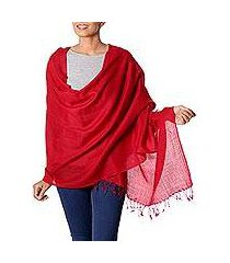wool shawl, 'valley of kashmir in red' (india)