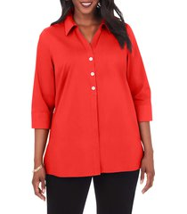 plus size women's foxcroft pamela non-iron stretch tunic blouse, size 22w - red