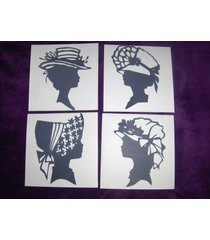 silhouettes of ladies in hats black ,gold or navy blue