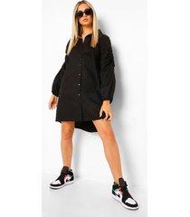 oversized blouse jurk met geplooide shoulders, black