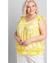 lane bryant women's sleeveless tie-hem top 38/40 yellow and white tie dye