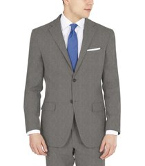 dkny men's modern-fit performance stretch gray sharkskin suit separates jacket