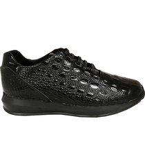 sneakers titan ii cuero shine croco negro hombre