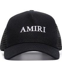 amiri logo embroidered baseball cap - black