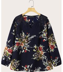 camicetta a maniche lunghe con maniche lunghe in patchwork di pizzo vintage con stampa floreale a fiori plus