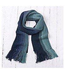 100% alpaca scarf, 'ocean stripes' (peru)
