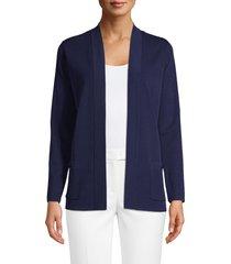 women's anne klein malibu open front cardigan, size large - blue