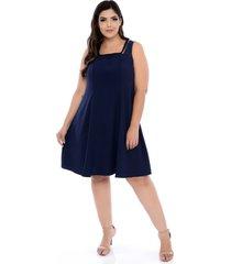 vestido forma rara plus size trançado azul marinho-58